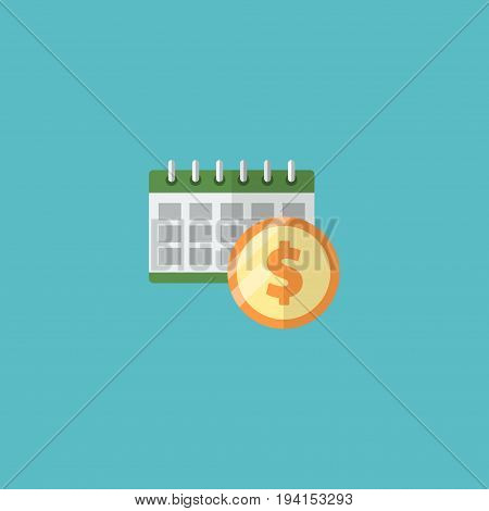 Flat Icon Dividends Element. Vector Illustration Of Flat Icon Deadline Isolated On Clean Background. Can Be Used As Deadline, Dividends And Money Symbols.