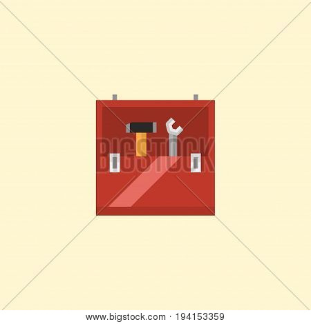 Flat Icon Toolbox Element. Vector Illustration Of Flat Icon Toolkit Isolated On Clean Background. Can Be Used As Toolbox, Toolkit And Repair Symbols.