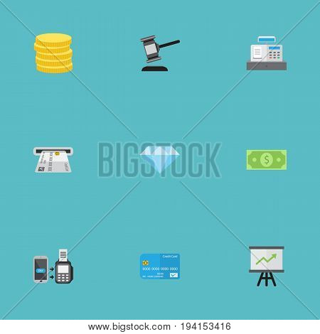 Flat Icons Teller Machine, Remote Paying, Till And Other Vector Elements. Set Of Banking Flat Icons Symbols Also Includes Chart, Gem, Jewel Objects.