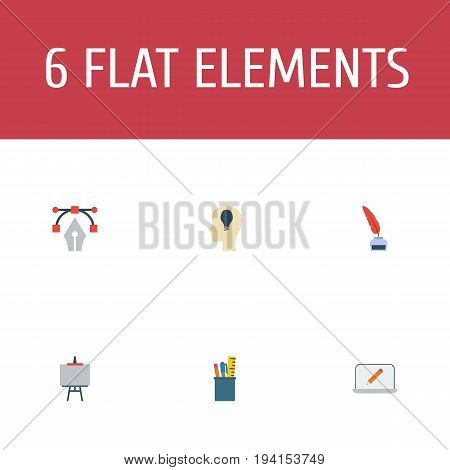 Flat Icons Case, Screen, Writing And Other Vector Elements. Set Of Creative Flat Icons Symbols Also Includes Drawing, Case, Bezier Objects.