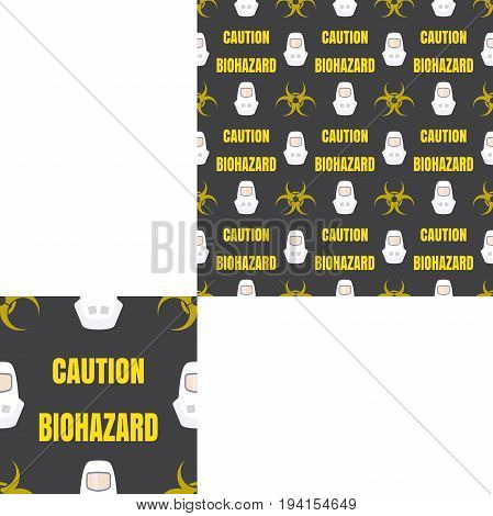 Seamless pattern of Rescue and fire with biohazard sign yellow text and white helmets on the dark gray background with pattern unit.