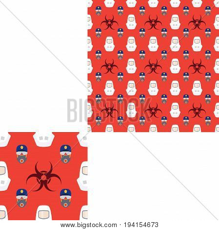 Seamless pattern of Rescue and fire with respiratory mask glasses police cap biohazard sign and white helmets on the red background with pattern unit.