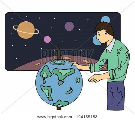 Scientist man, astronomer or a geographer looks at the globe. Vector illustration, isolated on white background.