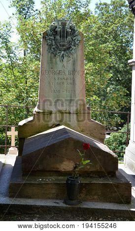 Georges Bizet Grave At Pere Lachaise Cemetery, Paris