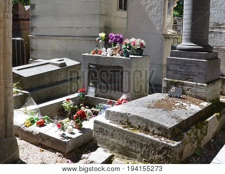 Jim Morrison Tombstone At Pere Lachaise Cemetery, Paris