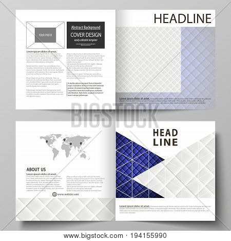 Business templates for square design bi fold brochure, magazine, flyer, booklet or annual report. Leaflet cover, abstract flat layout, easy editable vector. Shiny fabric, rippled texture, white and blue color silk, colorful vintage style background.