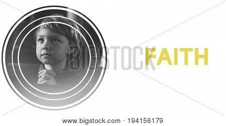 Little Boy Pray Believe Faith Hope Trust Graphic Word