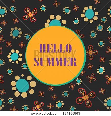 Hello Summer Lettering on seamless background Print.