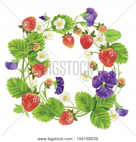 Vector strawberry and heartsease round frame. Design for tea, natural cosmetics, beauty store, pastry filled with strawberry, dessert menu, , perfume, aromatherapy. With place for text