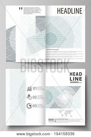 Business templates for bi fold brochure, magazine, flyer, booklet or annual report. Cover design template, easy editable vector, abstract flat layout in A4 size. Minimalistic background with lines. Gray color geometric shapes forming simple beautiful patt