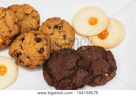 Top view of a plate of oatmeal chocolate shortbread cookies on a white background