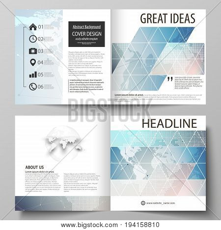 The vector illustration of the editable layout of two covers templates for square design bi fold brochure, magazine, flyer, booklet. Polygonal geometric linear texture. Global network, dig data concept.