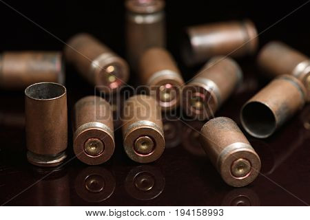 Beautifully Lined With Empty Shells Of 9 Mm Pistol Close Up