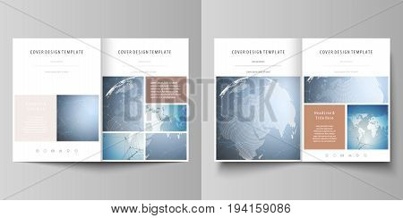 The minimalistic vector illustration of the editable layout of two A4 format modern covers design templates for brochure, flyer, report. Scientific medical DNA research. Science or medical concept