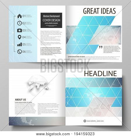 The vector illustration of the editable layout of two covers templates for square design bi fold brochure, magazine, flyer, booklet. Molecule structure. Science, technology concept. Polygonal design