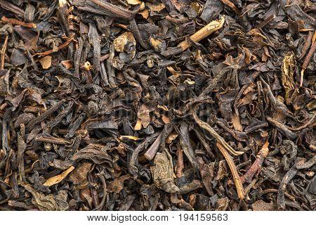 texture of Chinese bohea black tea, macro image of loose leaves