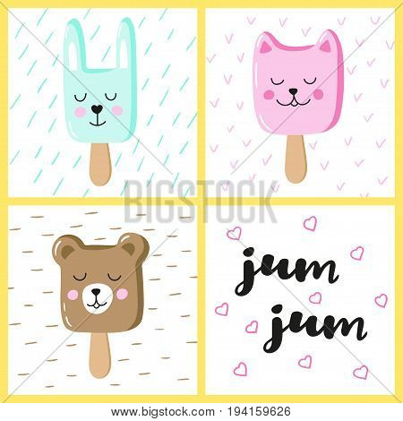 Set of cute animals ice cream Eskimo. Hand-written inscription yum-yum. Vector design for greeting cards.