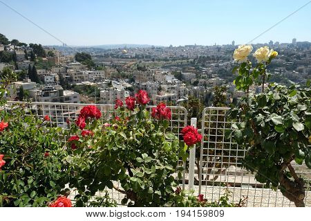 View from the terrace of the Brigham Young University to the Old Town of Jerusalem