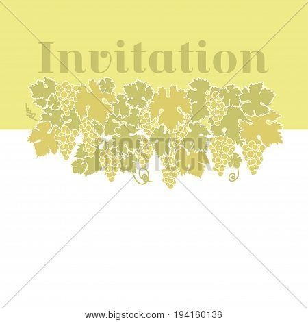 yellow color wine grape background. vector illustration of grapes silhouette