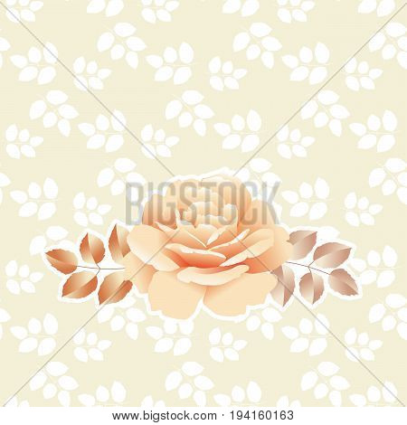 pearl color yellow rose vector illustration with simple pattern