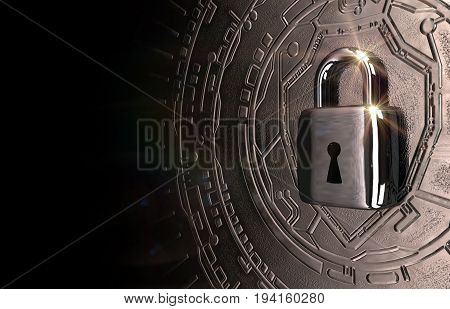 A conceptual image with a padlock representing cybersecurity. Created and rendered from a 3D model.