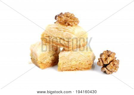 Arabic sweets with walnuts  , close up shot