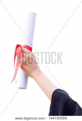 Diploma with a red ribbon in hand on white background clipping part
