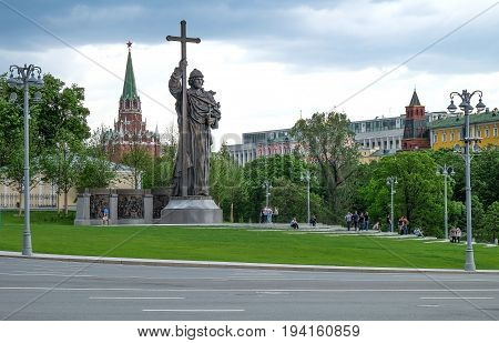 MOSCOW RUSSIA - MAY 28 2017: Monument to Holy Prince Vladimir the Great on Borovitskaya Square near the Kremlin. Vladimir is credited with the introduction of Orthodox Christianity.