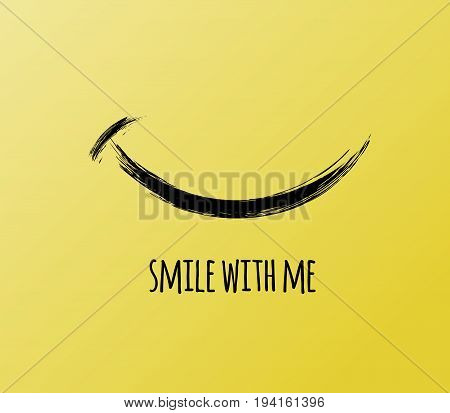 Smile with me lettering, funny, inspirational, and motivational quotation to boost your mood, stress relief card. Vector illustration, yellow background