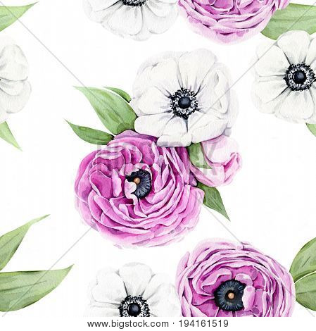 Watercolor illustration of hand painted peonies and anemones pattern