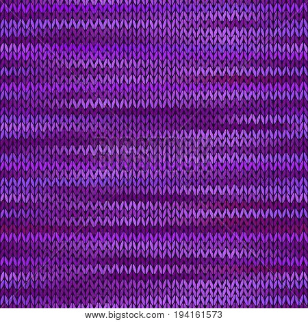 Style Seamless Knitted Melange Pattern. Lilac Violet Color Vector Illustration