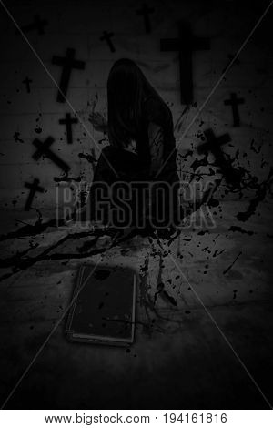 Ghost in haunted house ,Scary background for book cover