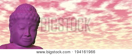 Buddha head meditating in cloudy colorful sky - 3D render