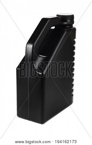 Black Motor Oil Container on White Background