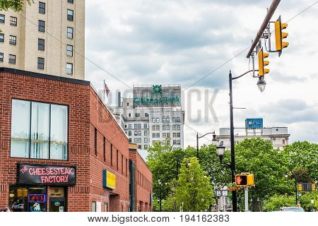 Wilkes-Barre USA - May 24 2017: Cheesesteak factory restaurant sign and entrance building exterior in Pennsylvania