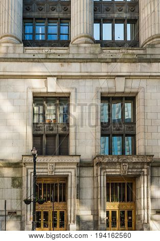 Chicago USA - May 30 2016: Closeup of Board of Trade Building along LaSalle street in Illinois
