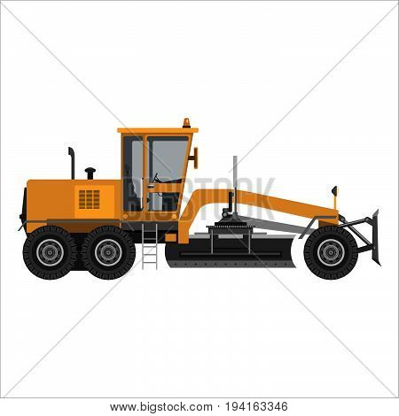 Heavy powerful motor grader. Isolated on a white background. Heavy industry engineering construction. Flat design. Vector illustration.