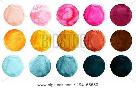 Set of watercolor circles isolated on white background. Watercolour illustration for design element logo pattern. Abstract watercolor round shapes blobs of blue yellow brown pink colors