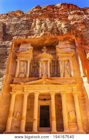 Yellow Golden Treasury Morning Siq Petra Jordan Petra Jordan. Treasury built by the Nabataens in 100 BC. Yellow Canyon becomes rose red when sun goes.