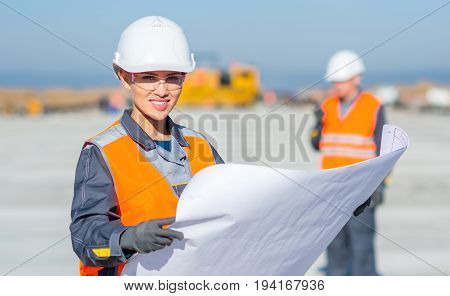 worker plan engineer construction happy smile document
