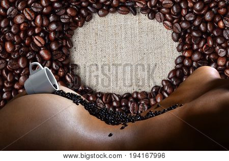 A Photograph Of A White Cup Of Hot Coffee With Lots Of Coffee Beans, Which Lies On A Beautiful And S