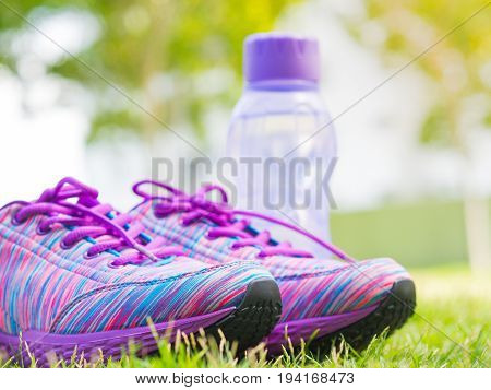 Pair of pink sport shoes and water bottle on green grass field. In the background forest or park trail. Accessories for running sport.