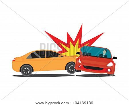 Auto accident involving two cars accident car isolated on white background conceptual Vector Illustration.