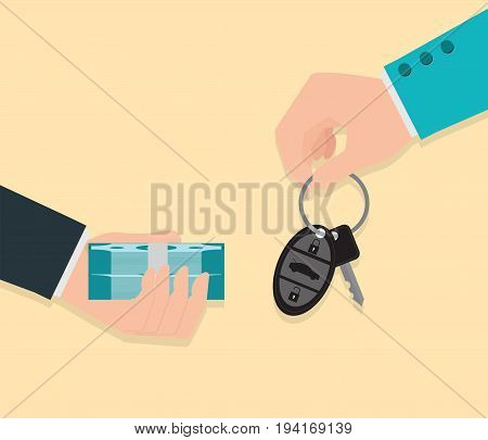 Buying new car conceptual Hand holding car key and money Rental or sale for car Sell automobileFlat style vector illustration.