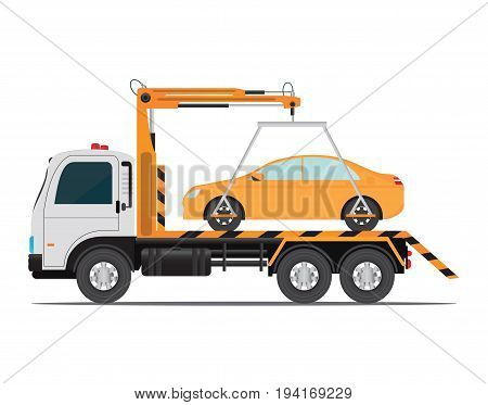 Tow truck car for transportation road car repair service assistance vehicles with damaged or salvaged cars vector illustration isolated on white background.