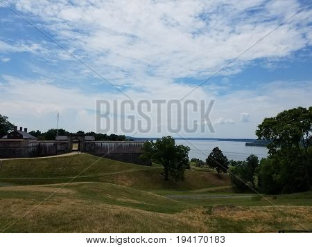 view of Ft. Washington and Potomac river and green grass