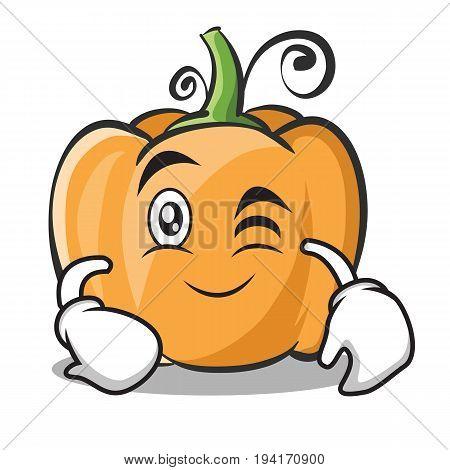 Wink face pumpkin character cartoon style vector illustration