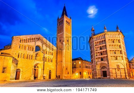 Parma Italy - Piazza del Duomo with the Cathedral and Baptistery built in 1059. Romanesque architecture in Emilia-Romagna.
