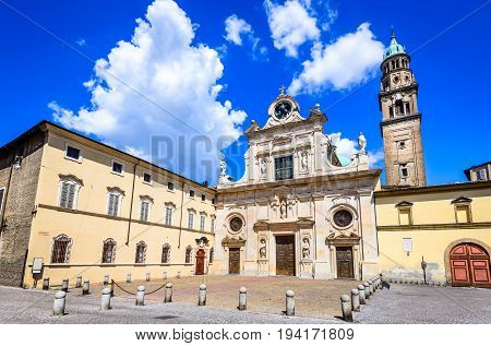 Parma Italy - Piazzale San Giovanni. San Giovanni Evangelista church with Baroque style facade.