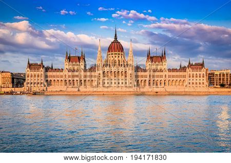 Budapest Hungary - Parliament Orszaghaz and Danube River. Seat of the National Assembly of Magyar country.